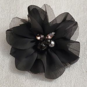 LOFT Black Chivon Floral Hair Pin Brooch #450
